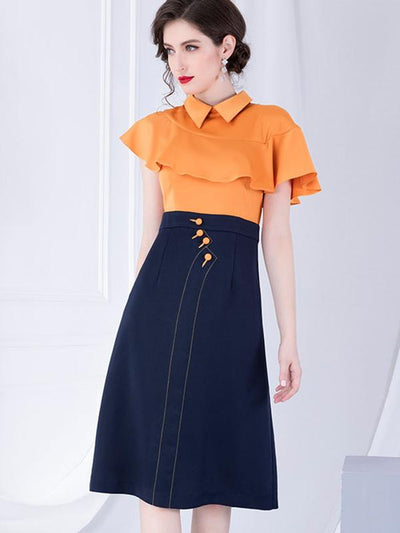 Hit-Color Turn-Down Collar Lotus Sleeves A-Line Dress