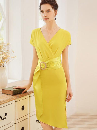 Sheath Decoration Ruffled Gathered Waist Yellow Bodycon Casual Dresses