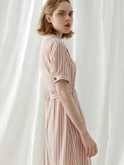 Lapel Collar Orange Stripe High Waist Casual A-Line Dress