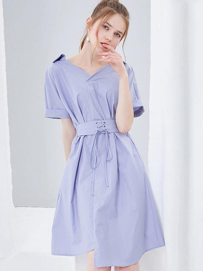 Slim Elastic Waist Asymmetric V-Neck Blue A-Line Dress