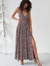 Sleeveless Deep V-Neck Big Hem Beach Maxi Dress