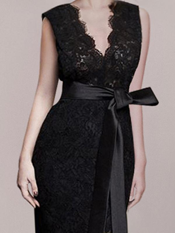 Lacing Sheath Lace Perspective V-Neck Party Dress