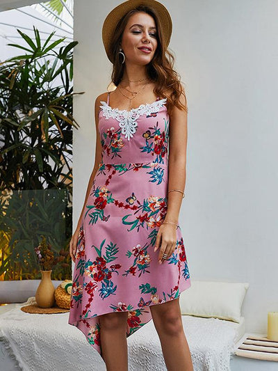 Asymmetric Patchwork Print Slip Summer Skater Dress