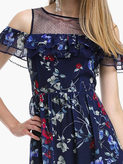 Falbala Off-The-Shoulder Perspective Chiffon Skater Dress