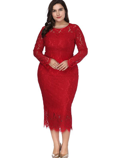 Oversize Long Sleeve Hollow Out Lace Bodycon Dress