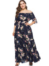 Oversize Boat Neck Print Ruffled Maxi Dress