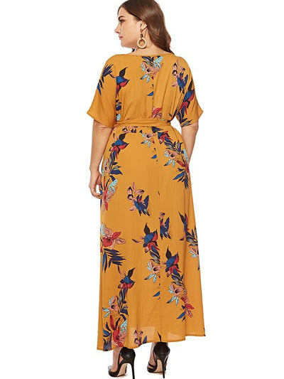Oversize Lacing High Waist Casual Print Dress