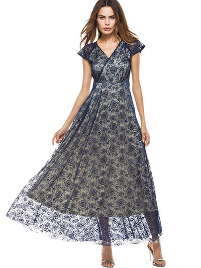Hollow Out Perspective Lace Big Hem Falbala Maxi Dress