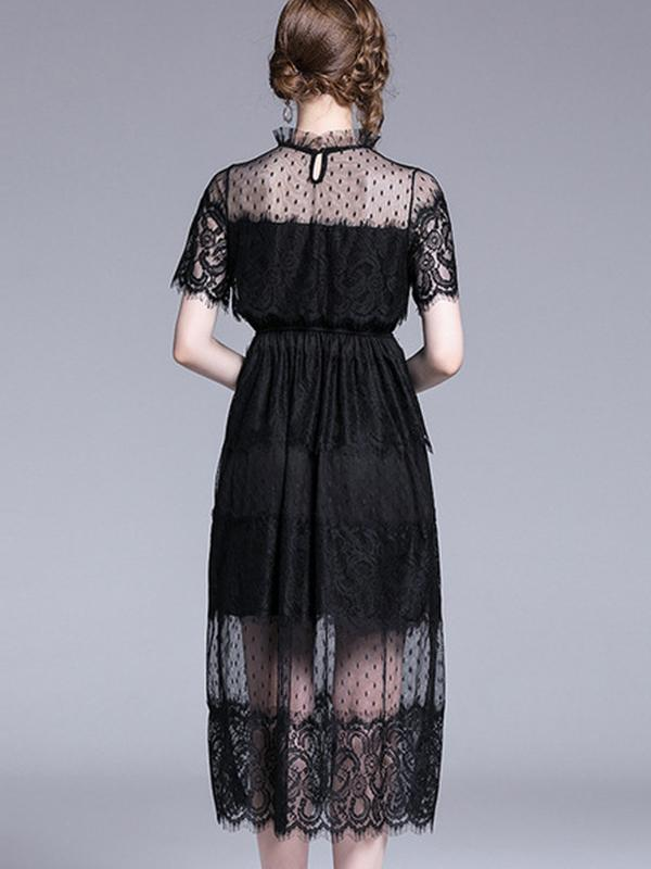 Black Lace Ruffled Stand Collar Gathered Waist Dress