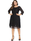 Patchwork Black 3/4 Sleeve A-Line Lace Dress