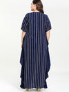 Oversize Stripe Patchwork Loose Maxi Dress