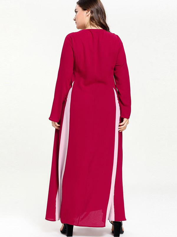 Oversize Red Patchwork Lace-Up Big Hem Maxi Dress