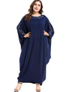 Oversize Decoration Dolman Sleeve Ruffles Maxi Dress