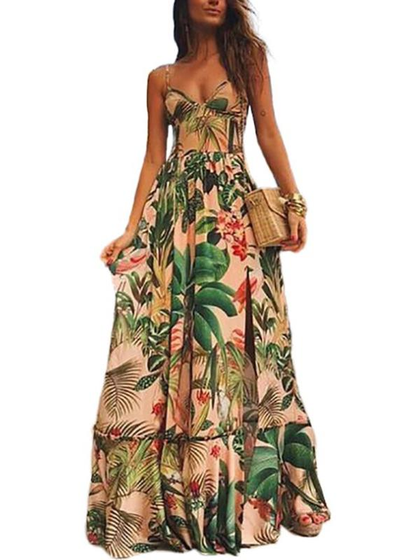 Floral Print Bustier Slip Big Hem Long Dress