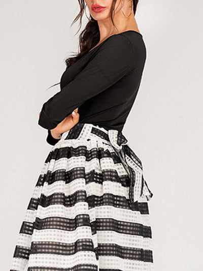 O-Neck Asymmetric Gathered Waist Two-Piece Dress