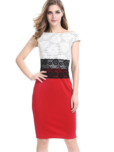 Stitching Lace High Waist Sleeveless Bodycon Dress
