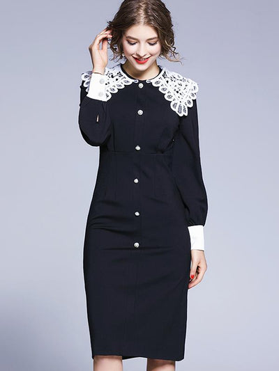 Peter Pan Collar Button Patchwork Bodycon Dress