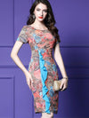 Multicolor Ruffles Print High Waist Sheath Dress