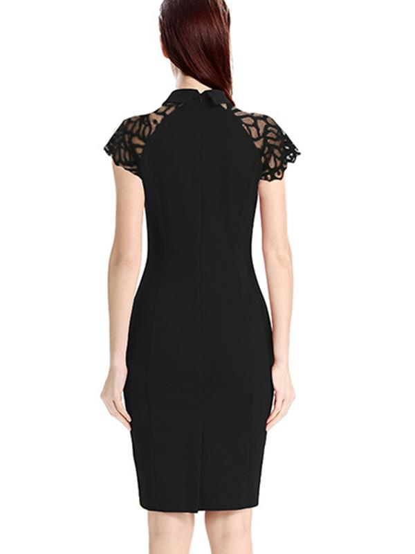 Lapel Collar Lace Short Sleeve Patchwork Sheath Dress