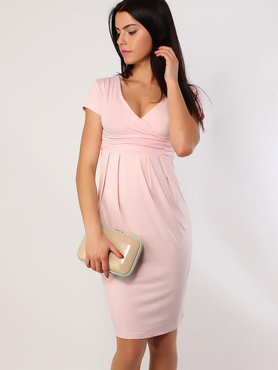 Deep V-Neck Ruffles Stitching Bodycon Dress
