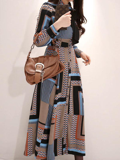 Print Big Hem Button Bowknot Maxi Dress