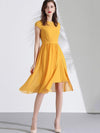 Yellow Chiffon Lace Patchwork Ruffles Skater Dress