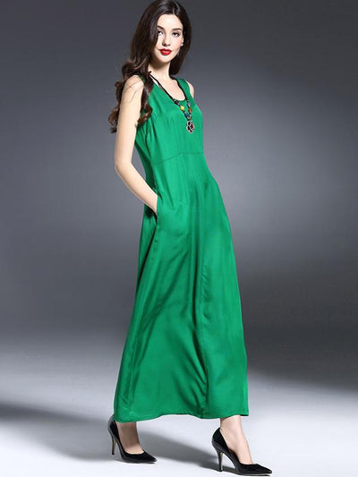 Silk Patchwork Loose Sleeveless Maxi Dress