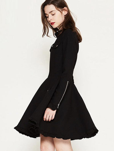 Pocket Ruffled Collar Button Zipper Skater Dress