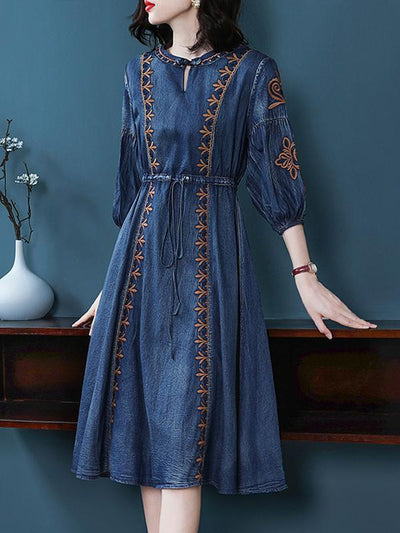 Embroidery Gathered Waist 3/4 Sleeve Vintage Skater Dress