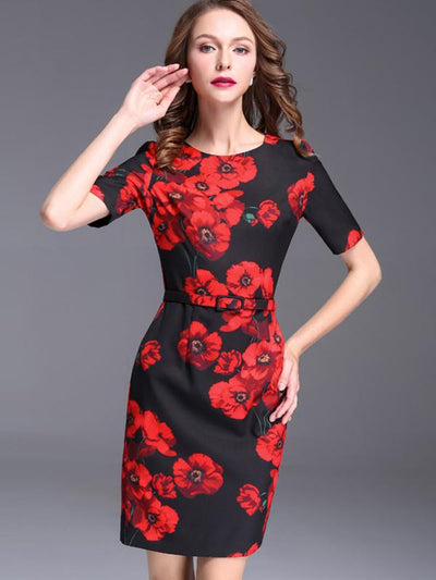Floral Print Belted Zipper Bodycon Dress