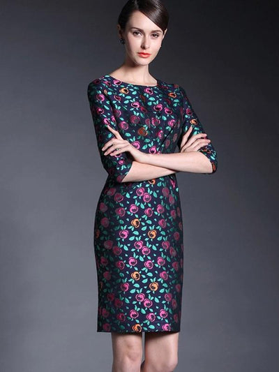 Vintage Seven Sleeves Print Slim Bodycon Dress