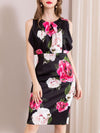 Print Sleeveless Gathered Waist Ruffles Sheath Dress