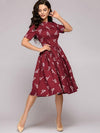 Gathered Waist O-Neck Print Vintage Skater Dress