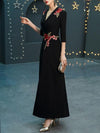 Black Deep V-Neck Patchwork Seven Sleeves Maxi Dress