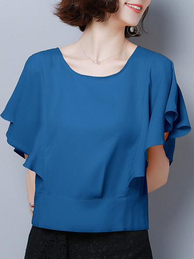 Lotus Sleeves Button Chiffon Solid Color Blouse