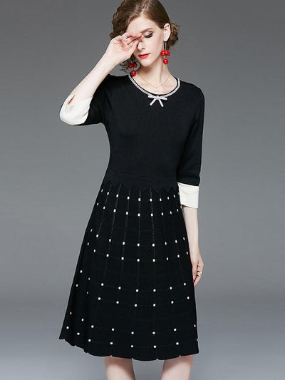 High Waist Knit Polka Dot Beaded Skater Dress