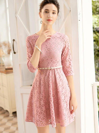 Pink Belted Hollow Out Skater Dress