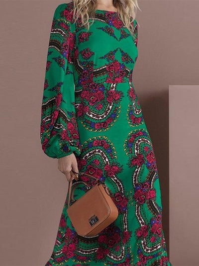 Green Print Puff Sleeve Gathered Waist Maxi Dress