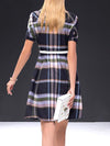Single Breasted Plaid Sashes Mini Skater Dress