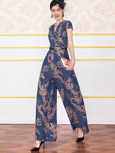 High Waist Print V-Neck Wide Leg Jumpsuit (Without Belt)