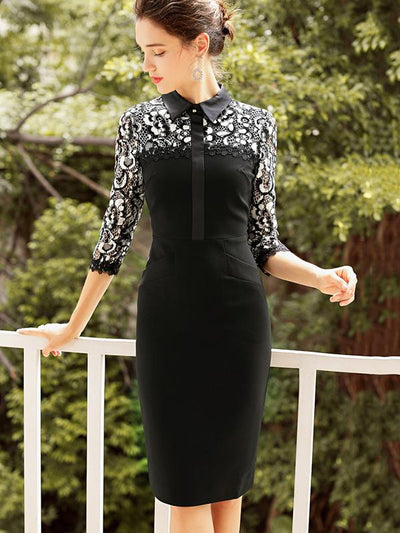 Turn-Down Collar Stitching Lace Sheath Dress