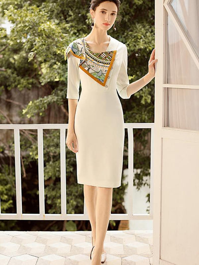 Button Seven Sleeves Patchwork Bodycon Dress