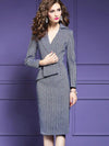 Work Stripe Patchwork Lapel Collar Bodycon Dress