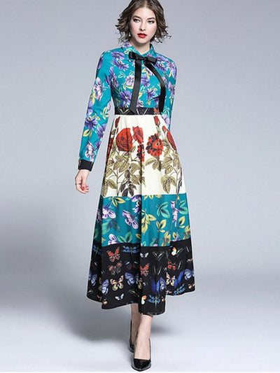 Bowknot Turn-Down Collar Print Long Dress