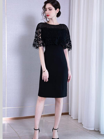 High Waist Hollow Out Lace Stitching Bodycon Dress