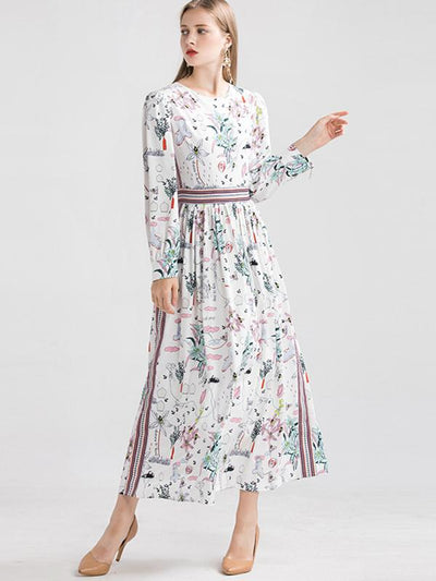 Elegant Long Sleeve Gathered Waist Long Dress