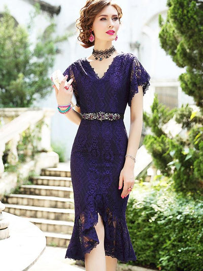 Lace V-Neck Patchwork Mermaid Bodycon Dress (Without Belt)