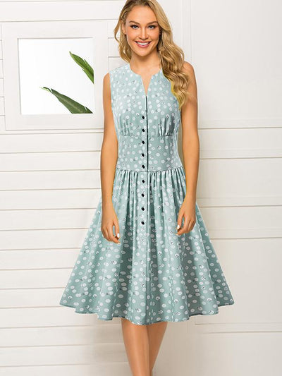 Single Breasted Sleeveless Ruffles Skater Dress