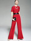 Slim Belted Red Short Sleeve Jumpsuit