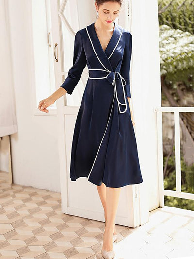 Lapel Collar Lace-Up Stitching Skater Dress